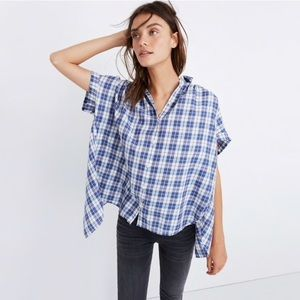 MADEWELL | Central Open-Back Shirt, Linus Plaid
